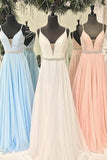 Gorgeous Straps Light Sky Blue Chiffon A Line Long Prom Dress OK984