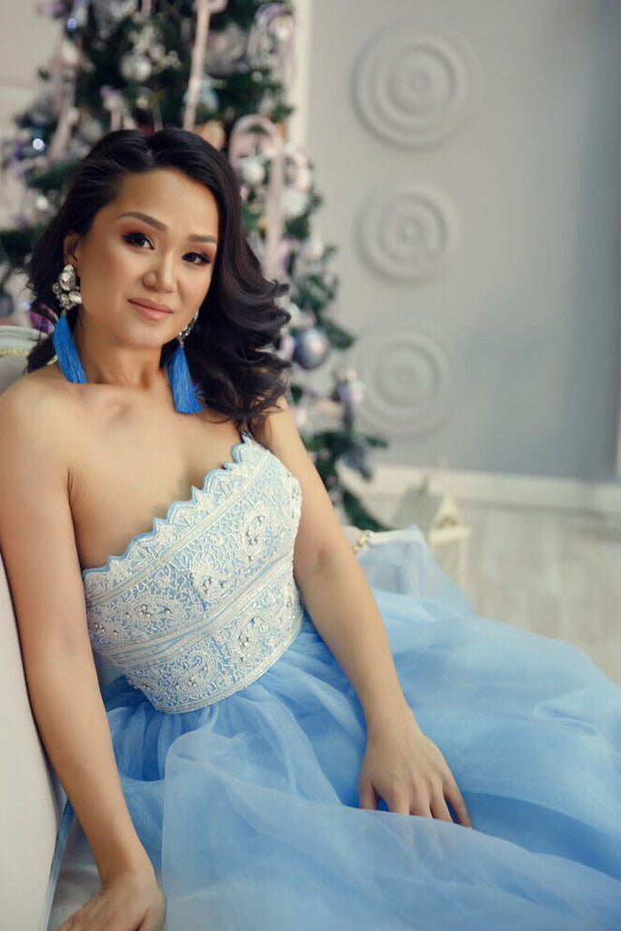 Princess Strapless Sky Blue Long Tulle A Line Prom Dress with White Lace OK950
