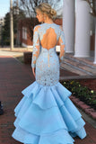 Elegant Long Sleeves Mermaid Blue Lace Layered Prom Dress with Open Back OKA36