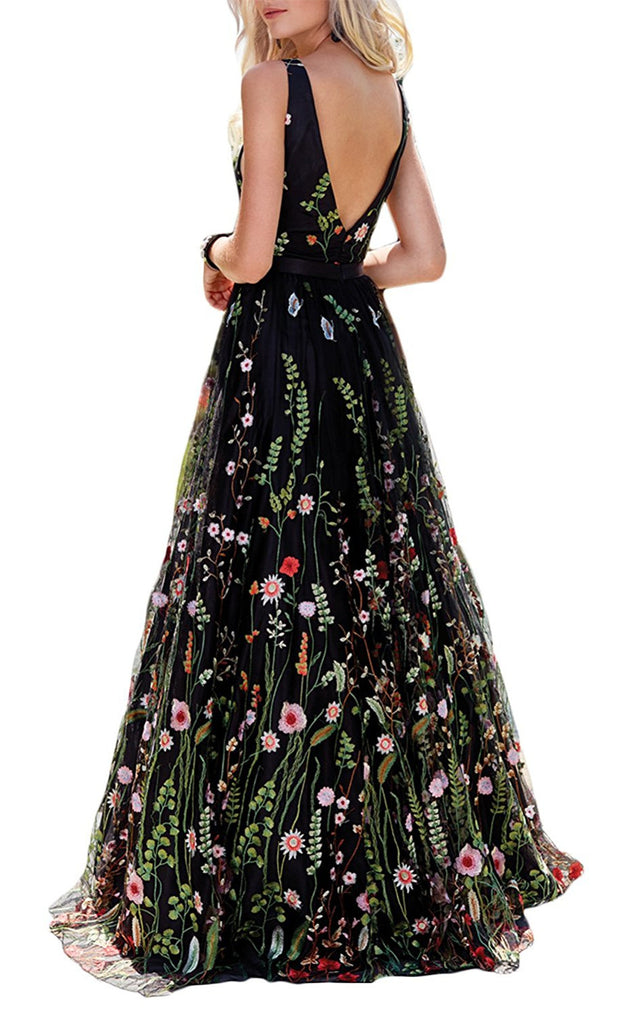Princess Black Floral V Neck A Line Long Prom Dress,Graduation Dresses OK976