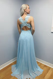 Elegant A-line Blue Chiffon Long Lace Appliques Prom Dress OKA9