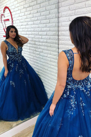Ball Gown Royal Blue Beaded Long Plus Size Prom Gown with Open Back OKL1
