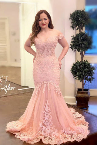 Off the Shoulder Pink Appliques Mermaid Long Plus Size Prom Dress OKK95