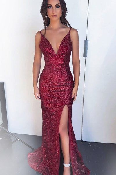 Burgundy Mermaid Sequin Prom Dresses, Spaghetti Straps Prom Gown OKK34