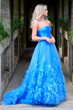 A-Line Strapless Long Prom Dress with Train OKO55