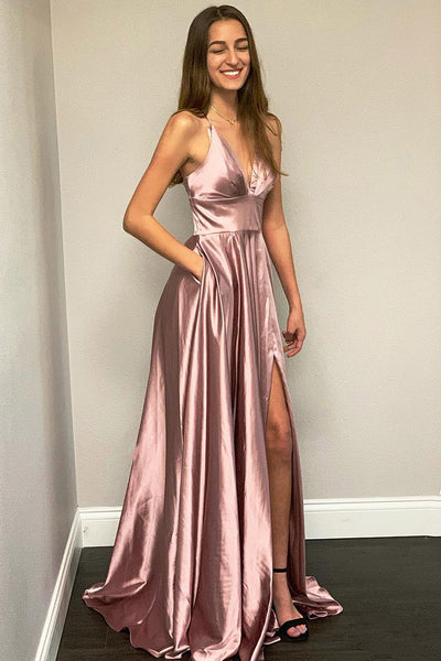 A Line Pink Spaghetti Straps Long Split Prom Dresses With Pockets OKK35
