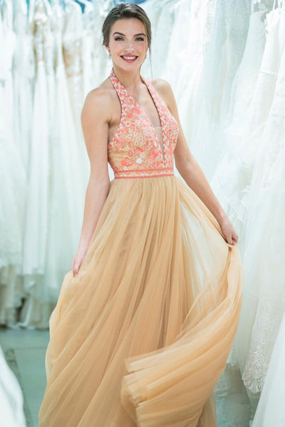 Stunning A Line Gold Halter Long Tulle Prom Dresses With Beads OKK36