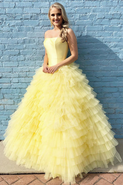 Princess Strapless Tiered Floor Length Yellow Ball Gown Prom Dress OKL3