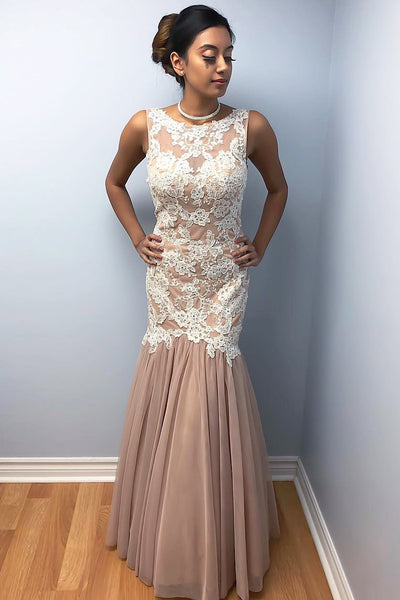 Mermaid Chiffon Prom Dresses With Lace, Long Charming Prom Gown OKK33