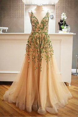 Criss Cross Back Appliqued Tulle Prom Dress with Ribbon OKL98
