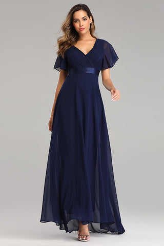 A Line Chiffon Short Sleeves Long V Neck Prom Dresses XU90812