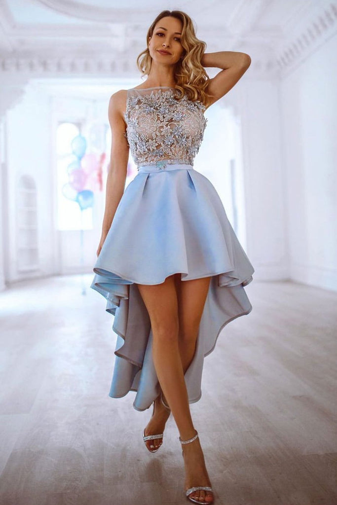 Blue Lace Apppliques Satin Prom Dress High Low Prom Gown OKQ44