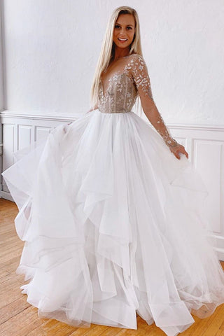White A Line Tulle Appliques Long Sleeves Prom Dress Stunning Evening Dress OKQ39