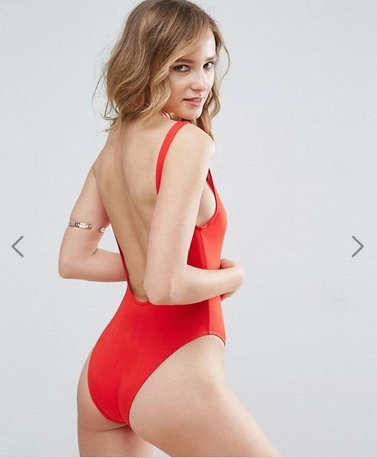 Athletic Low Back High Leg Red One Piece Swimsuit B0030