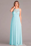 New Arrival A-Line V-Neck Floor-Length Mint Open Back Chiffon Bridesmaid Dress with Lace OK929