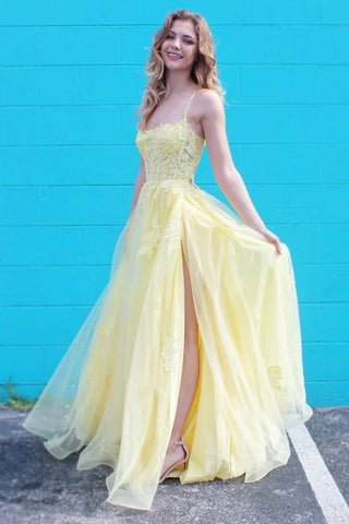 Yellow Spaghetti Straps Appliques Tulle A Line Prom Dresses Evening Dress OKT73