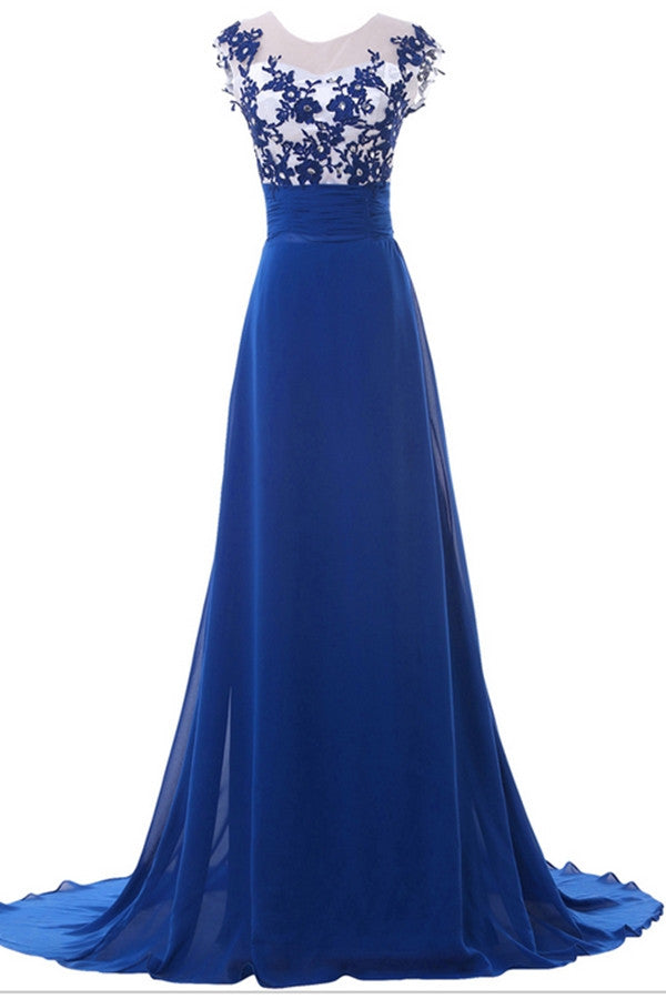 Sweep Train Blue Lace Chiffon High Low Cheap Simple Prom Dresses For Teens K746