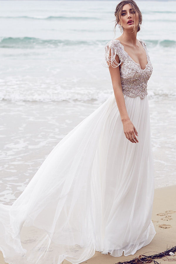 Sexy Wedding Dresses,A Line Wedding Dresses,Beading Wedding Dress,Long Wedding Dress,Beach Wedding Dresses,Coast Wedding Dress,V-neck Wedding Dresses,Chiffon Wedding Gowns,Ivory Wedding Dress,Summer Wedding Dress