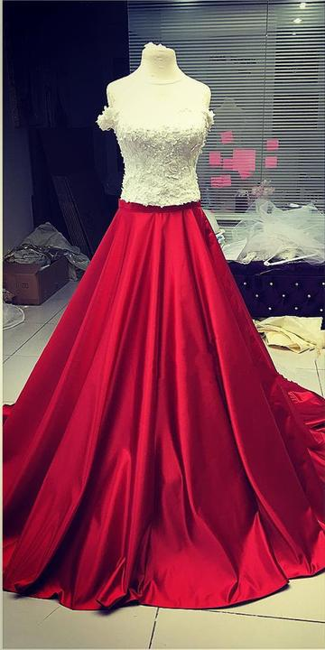 White Lace Crop Top Red Satin Two Piece A Line Prom Dresses OK817
