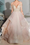 Elegant A-Line Long Sleeves Tulle Backless Pink Wedding Dresses With Appliques OK543