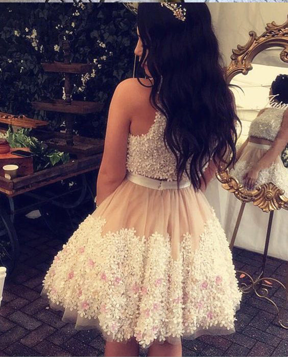 Cute Tull Flower Lace Appliques Short Prom Dress,Two Pieces Homecoming Dresses OK464