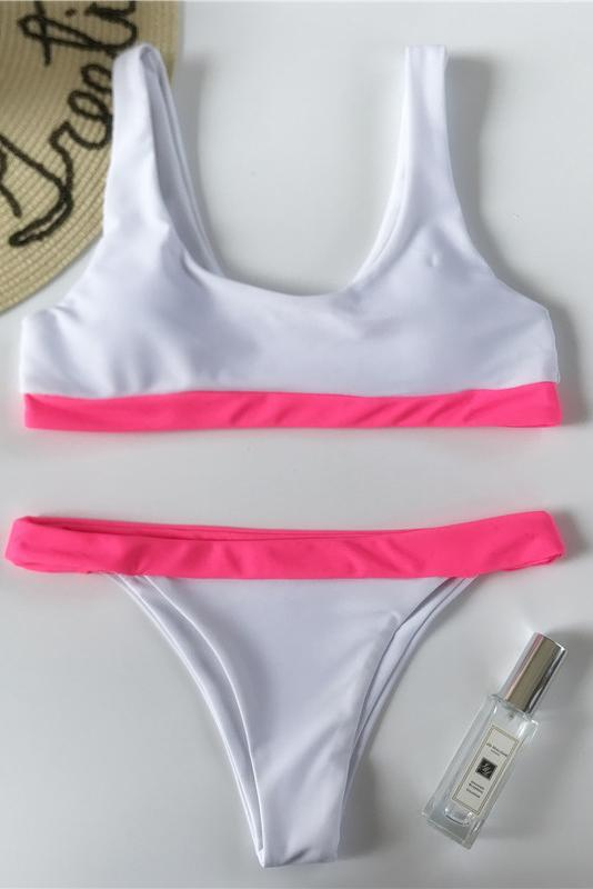 White Scoop Two Piece Womens Bikini Set B0028