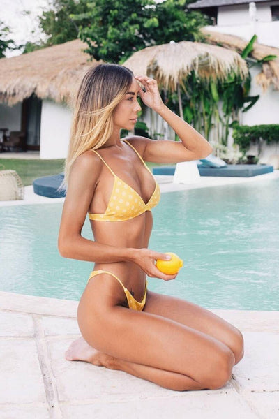 Yellow Women's Holiday Sexy Triangle Bikini Set B0030
