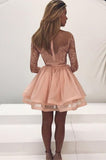 A-Line Round Neck Long Sleeves Prom Gown,Pink Organza Short Homecoming Dress with Lace OK512
