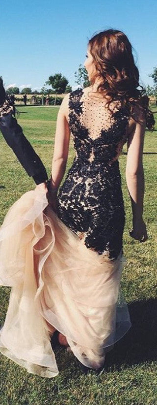 V-neck Long Mermaid Black Lace Charming Sexy Party Prom Dresses K729
