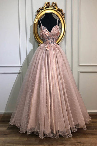 Pink Spaghetti Straps Tulle Appliques Long Prom Dress A Line Formal Party Dress OKS625