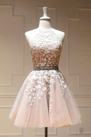 Tulle Lace Short Prom Dress Beadeing A Line Homecoming Dress OKP39