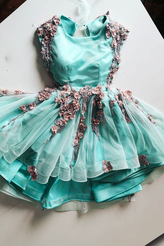 Green Tulle Lace Appliques Short Cute Homecoming Dress OKP48