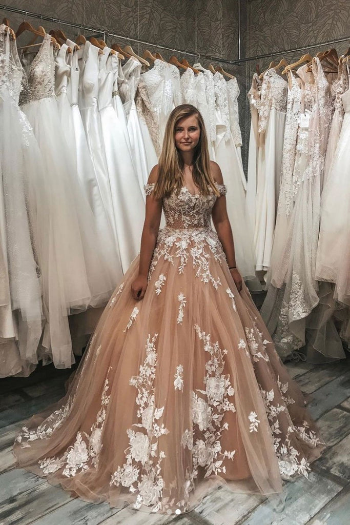 Ball Gown Off the Shoulder Lace Appliques Tulle Prom Dresses OKP99