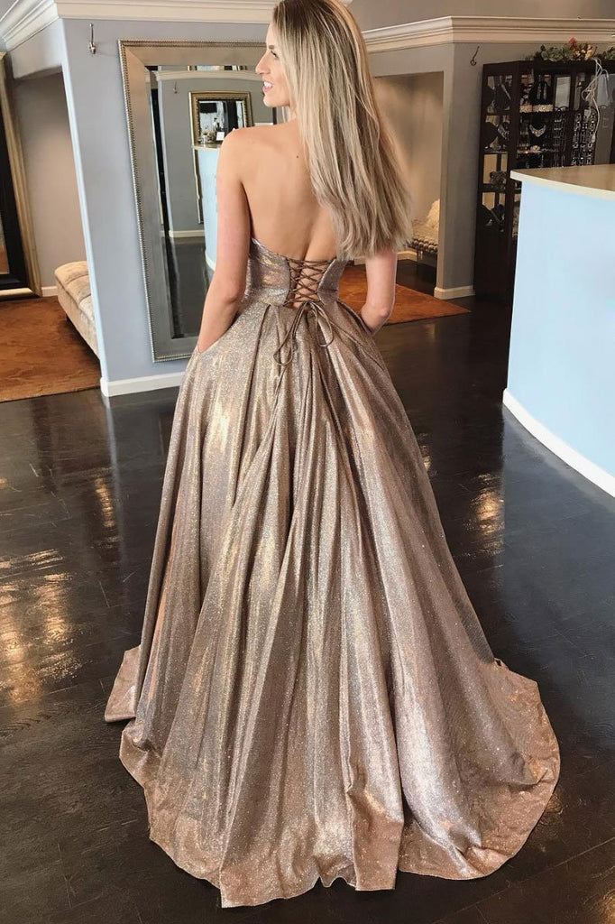 Sweetheart A-line Prom Dresses Long Glitter Sequined Formal Evening Dress Party With Pocket OKW31