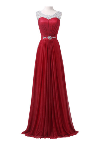 Red Long Beading Sparkly Modest A-line Floor Length Prom Dresses K747