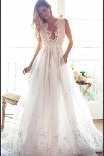 Modest Wedding Dresses,A Line Wedding Dress,Chiffon Wedding Dress,Appliqued Wedding Dress,Beach Wedding Dresses,Coast Wedding Dress,Deep V-neck Wedding Dresses,Chiffon Wedding Gowns,Ivory Wedding Dress,Summer Wedding Dress