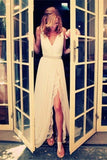 Ivory Chiffon Lace V-neck Simple Plus Size Beach Wedding Dresses W32