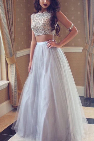 Sparkly Beaded Two Pieces Modest Long Tulle Party Prom Dresses K768