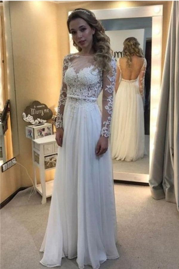 White Lace Chiffon Backless A-line Long Prom Dresses With Sleeves W35