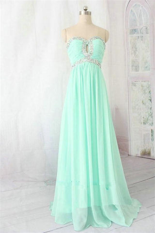 Mint Chiffon Long Sweetheart Beading High Low Prom Dresses K712