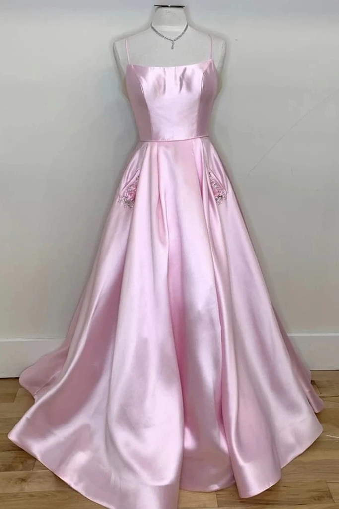 A-line Spaghetti Straps Pink Long Prom Dresses With Pockts Satin Simple Evening Dress OKS93
