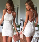 Sexy Sheath Mini Party Dresses,White Lace Short Homecoming Dress OK461