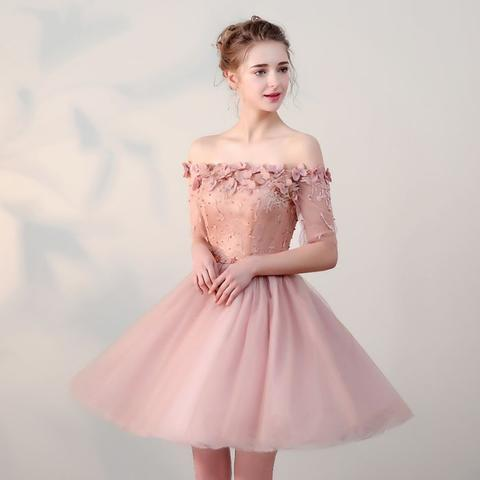 Chic Short Pearl Pink Off-the-shoulder Homecoming Dress,Tulle Cheap Prom Dresses OK511