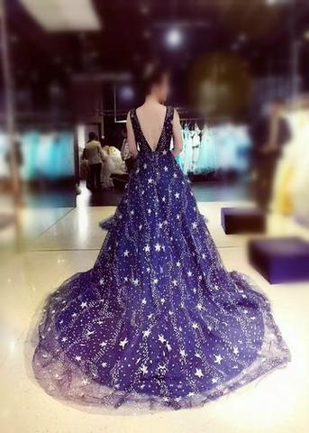 Chic A-line Ball Gown Dark Navy Sweep Train Tulle Modest Rhinestone Long Prom Dresses OK500