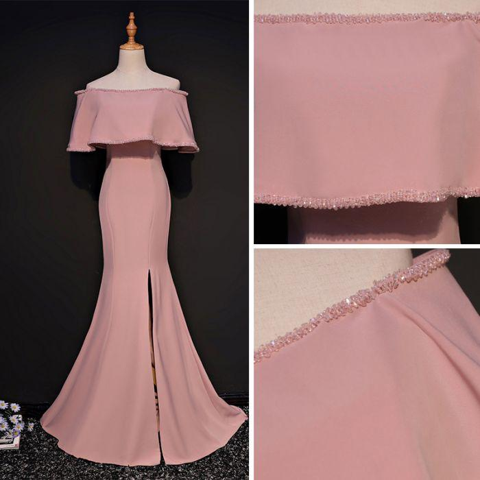 Elegant Trumpet Mermaid Off-the-shoulder Floor Length Pink Prom Dress With Slit OK631