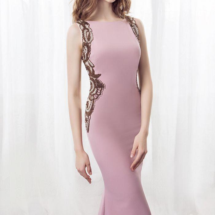 Elegant Mermaid Pink Sweep Train Bateau Long Prom Dress With Beading OK885