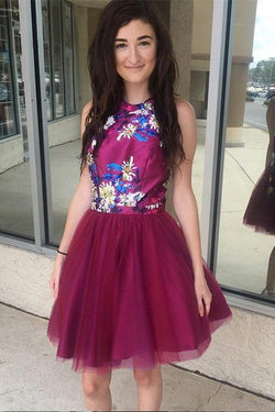Chic A-line Fuchsia Short Prom Dress Halter Homecoming Dresses Cocktail Dress OKE14