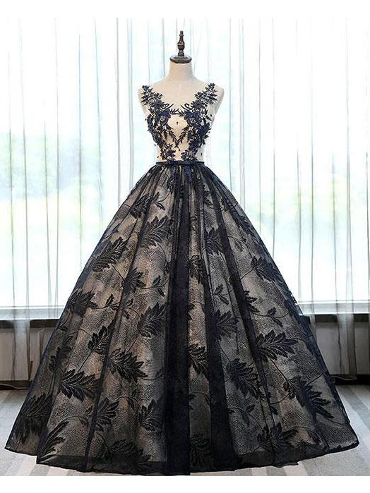 2018 Ball Gown Black Lace Long Prom Dresses With Applique OK897