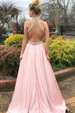 Fashion A-line Pink High Neck Sexy Back Cheap Beading Prom Dress OKA15