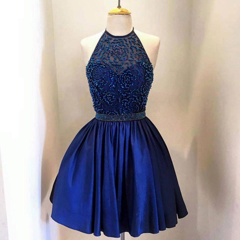 Royal Blue A Line Taffeta Beaded Bodice Halter High Neck Homecoming Dresses OK371